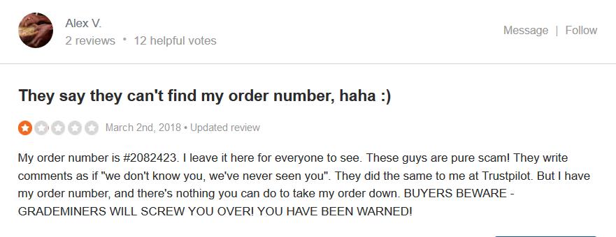 Grademiners.com Customer reviews