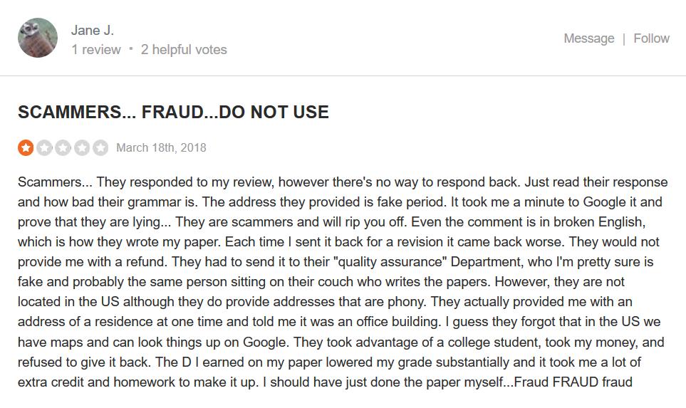 Writemyessay4me.org Customer reviews