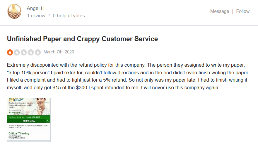 Grabmyessay.com Customer reviews