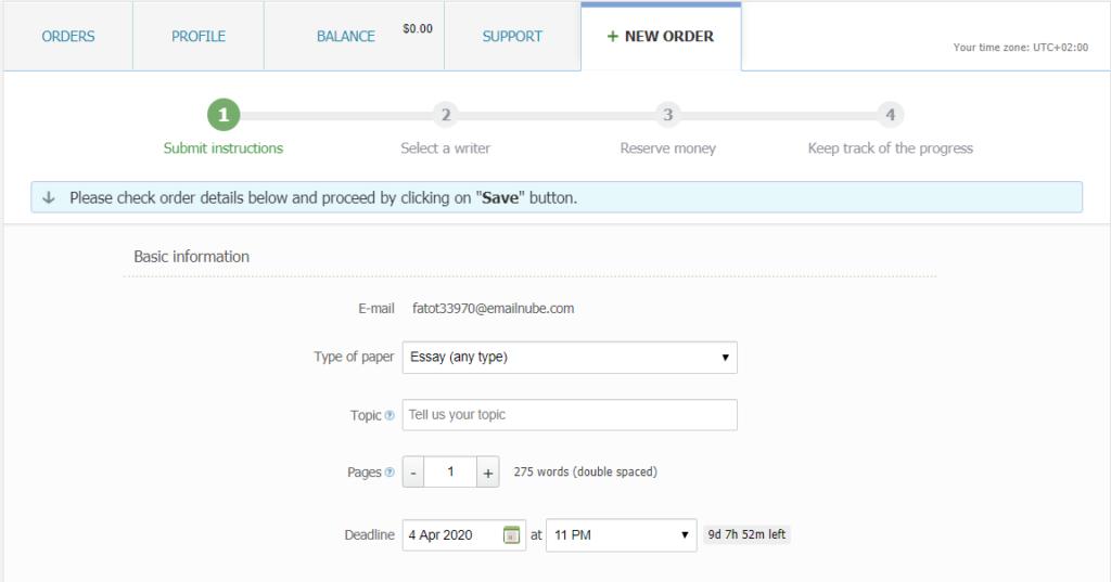 Bid4papers.com Order form
